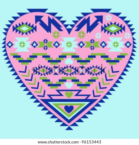 Indian Heart Pattern - stock vector