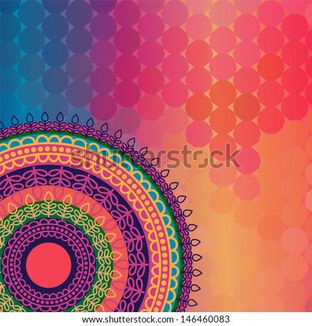 Indian Henna Mandala Background Design EPS10, very elaborate and easily editable - stock vector