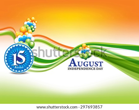 indian independence day background with wave  - stock vector