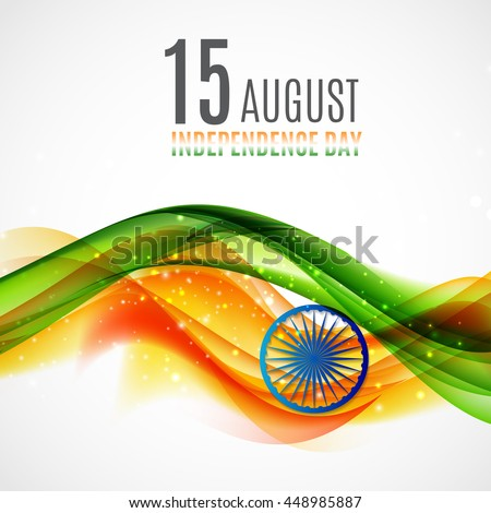 Indian Independence Day Background with Waves and  Ashoka Wheel. Vector Illustration - stock vector