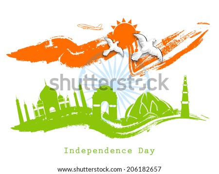 Indian Independence Day celebrations greeting card with famous monuments of India and ashoka wheel on white background.  - stock vector