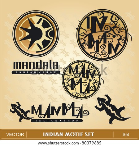Indian Motif Set - stock vector
