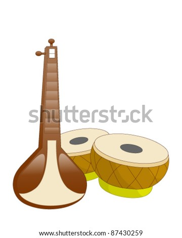 Indian musical instruments - stock vector