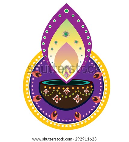 Indian new year element - diwali candle light (vector) - stock vector