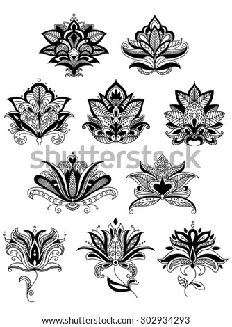 Indian or persian floral paisley elements and flowers with intricate elements for lace embellishment or interior accessory design - stock vector