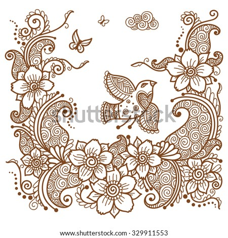 Indian ornament with a bird, floral elements, henna style. - stock vector