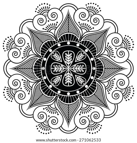 Indian pattern surrounded with heart elements inspired by henna tattoo  - stock vector