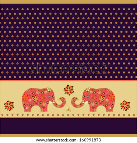 Indian pattern with elephants - stock vector