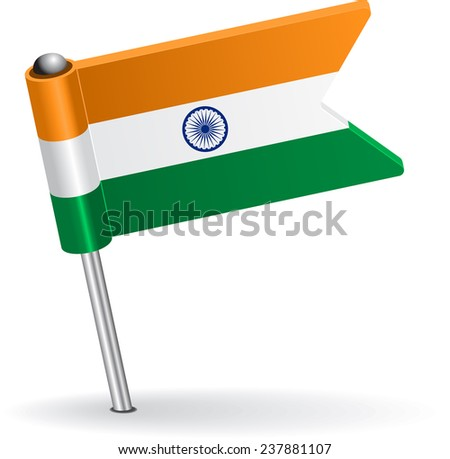 Indian pin icon flag. Vector illustration Eps 8. - stock vector