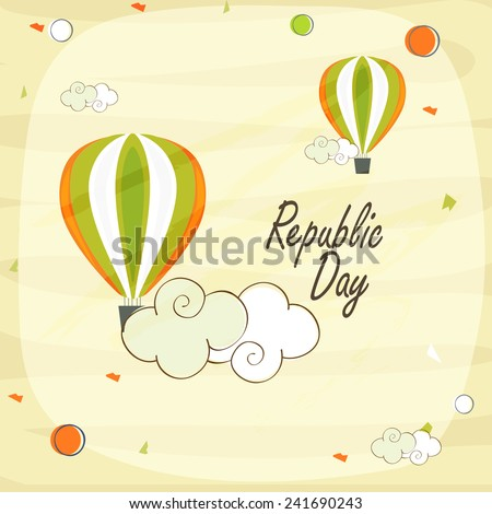 Indian Republic Day celebration with national tricolor hot air balloons flying on stylish background. - stock vector