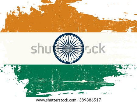 Indian scratched Flag. An indian flag with a grunge texture - stock vector