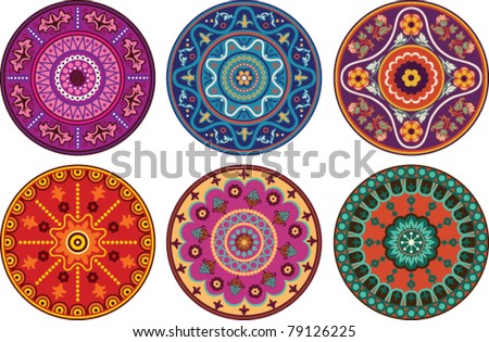 Indian style floral color ornament - stock vector