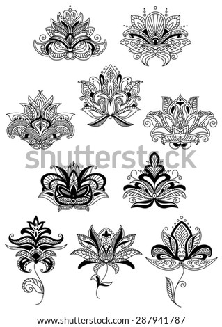 Indian stylized floral design elements with black paisley flowers and lush bloom, decorated in ethnic ornament. Isolated on white background - stock vector