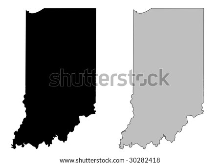 Indiana map. Black and white. Mercator projection. - stock vector