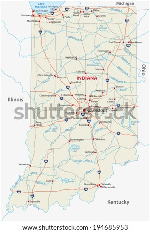 indiana road map - stock vector