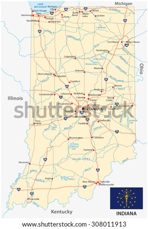 indiana road map with flag - stock vector