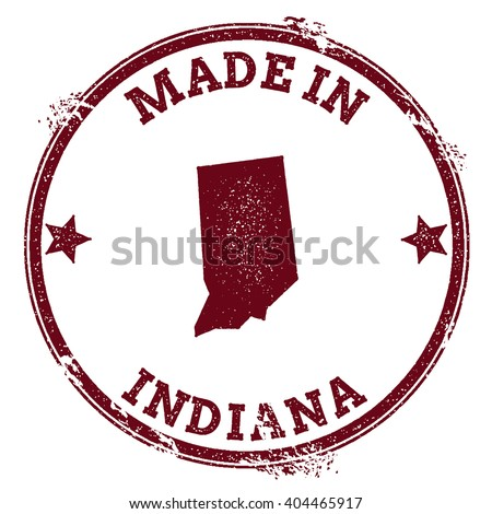 Indiana vector seal. Vintage USA state map stamp. Grunge rubber stamp with Made in Indiana text and USA state map, vector illustration. - stock vector