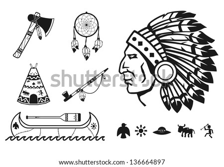 Indians icons set - stock vector