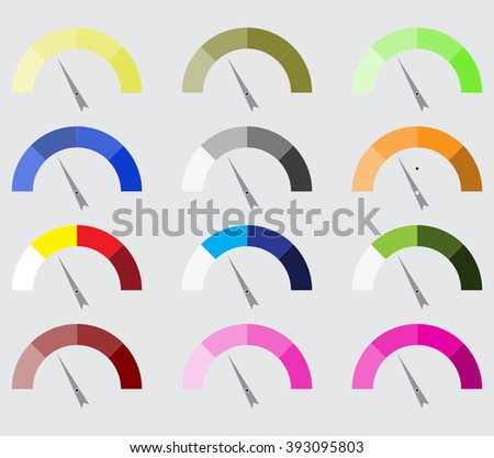 Indicator color set with pointer needle. Index pointer, arrow and car indicator, measure indicator, control technology, measurement spectrum pointer. Vector abstract flat design illustration - stock vector
