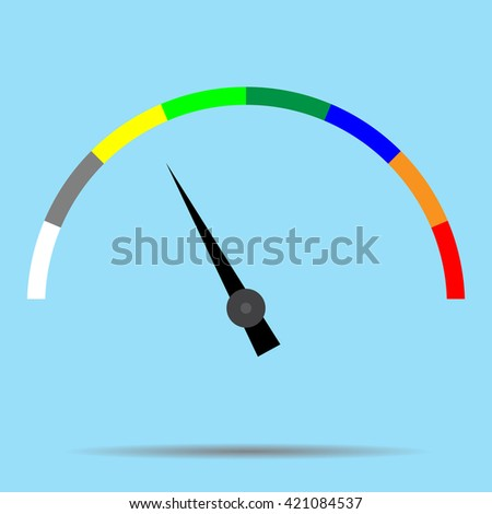 Indicator color spectrum barometer full vector. Index and pointer, arrow car indicator and measure. Vector flat design illustration - stock vector