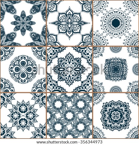 Indigo blue Tiles Floor Ornament Collection. Gorgeous Seamless Patchwork Pattern from Traditional Painted Tin Glazed Ceramic Tilework Vintage Illustration. For web page template background - stock vector