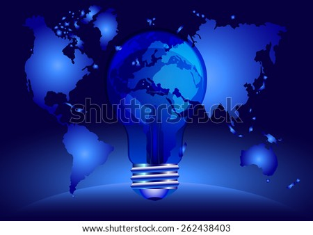 Indigo light bulb with globe. Autism awareness - stock vector