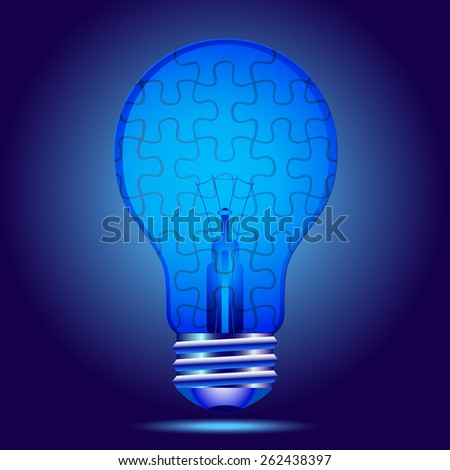 Indigo light bulb with puzzle. Autism awareness - stock vector