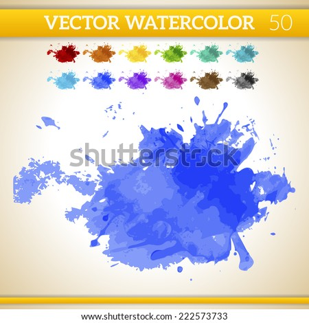 Indigo Vector Watercolor Artistic Splash for Design and Decoration. In rainbow color variations.  - stock vector