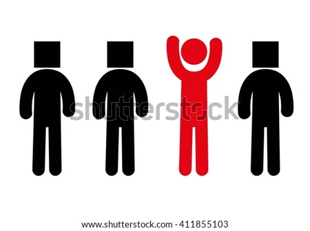 Individuality silhouette.Red silhouette. - stock vector