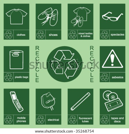 Individually layered recycling sign collection 2 - stock vector