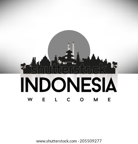 Indonesia Black Skyline Silhouette vector illustration, Typographic design. - stock vector