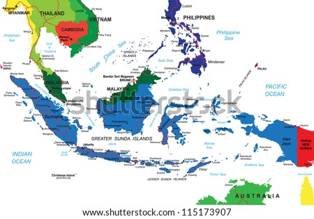 Indonesia Religion Map Indonesia Map Stock Vector