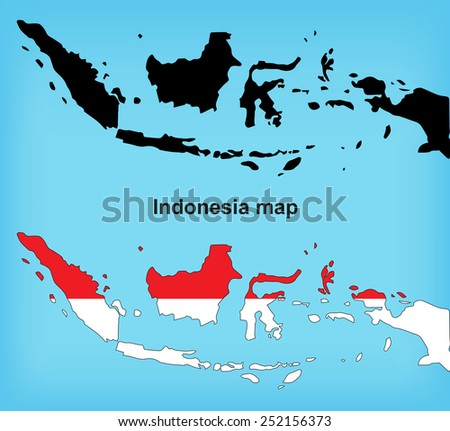 Indonesia map vector, Indonesia flag vector - stock vector