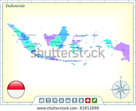 Indonesia Map with Flag Buttons and Assistance & Activates Icons Original Illustration - stock vector