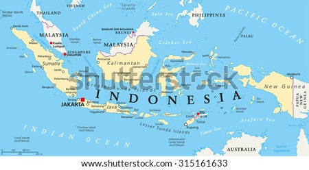 Indonesia political map with capital Jakarta, national borders and important cities. English labeling and scaling. Illustration. - stock vector