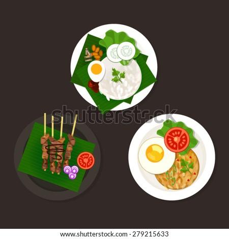 indonesian malaysian food nasi goreng lemak sate ayam - stock vector