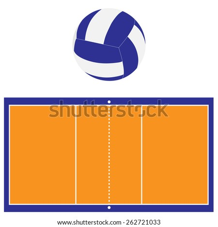 Indoor orange and blue volleyball court and blue and white volleyball ball vector set isolated - stock vector