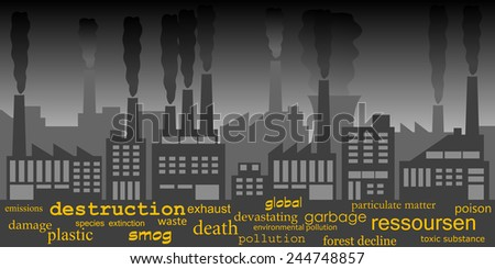 Industielle air pollution - stock vector