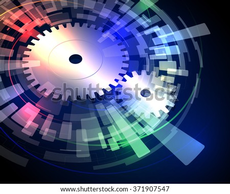 Industrial abstract image, gear and rotation, vector illustration - stock vector