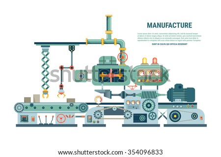 Industrial abstract machine in flat style. Factory construction equipment, engineering vector illustration - stock vector
