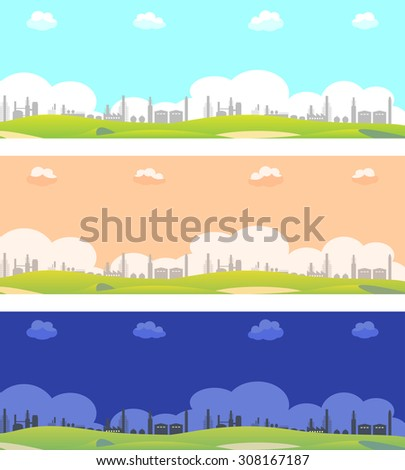 industrial area. night view and day view - stock vector