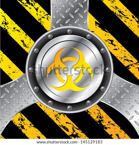 Industrial background design with bio hazard warning sign - stock vector