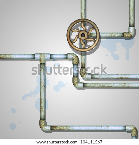 Industrial background with rusty pipes - stock vector