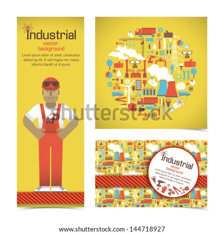 Industrial banners set with workman. Vector Illustration, eps10, contains transparencies. - stock vector