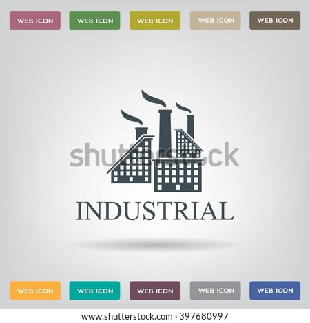 Industrial building factory Signs and Symbols - stock vector
