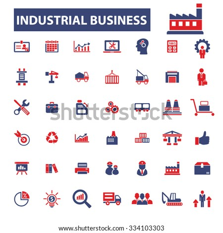 industrial business, factory, industry, market icons, signs vector concept set for infographics, mobile, website - stock vector