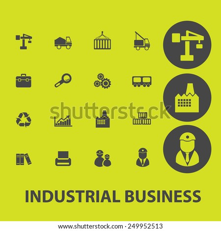 industrial business, management, marketing, sales icons, signs, illustrations on background set, vector - stock vector