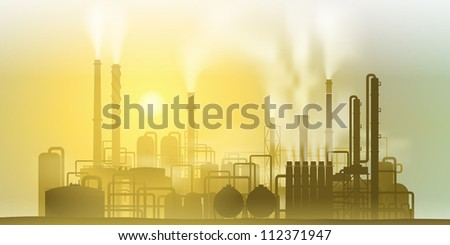 Industrial Chemical Petrochemical Oil and Gas Refinery Plant - stock vector