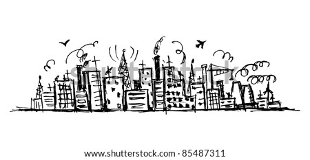 Industrial cityscape, sketch drawing for your design - stock vector