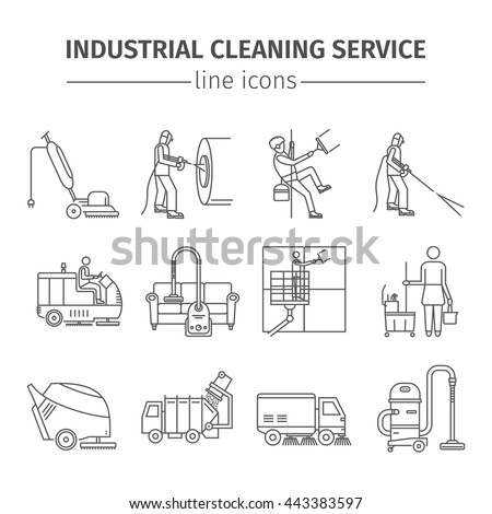 Industrial Cleaning Service. Worker. Vacuum Scrubber. Sweeper Machines. Thin line icon set. Vector illustration. - stock vector
